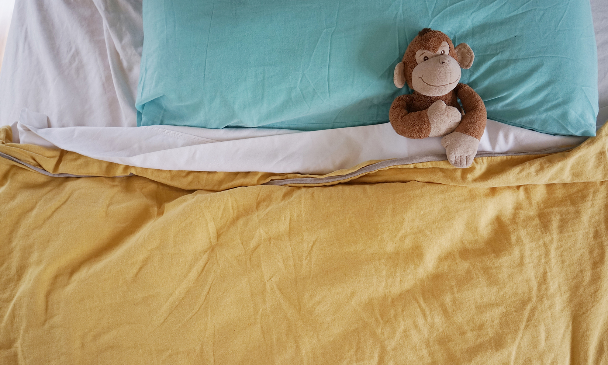 Monkey laying in bed imagining music