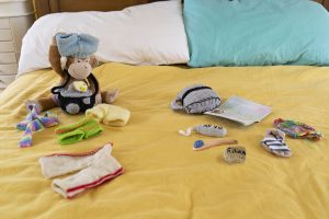 Monkey sitting on bed with his passport and belongings to pack